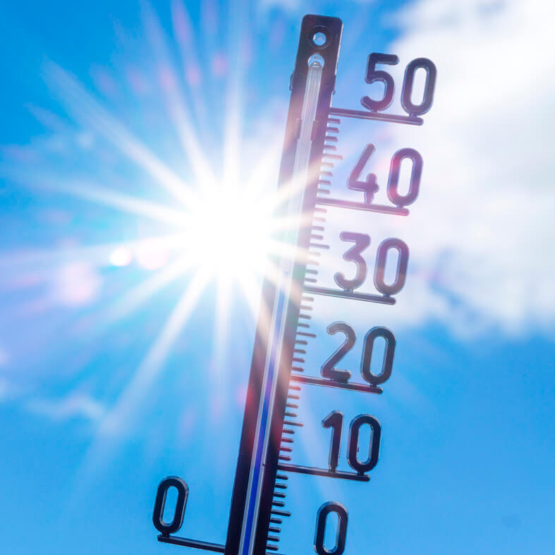 Thermometer zeigt Rekordtemperaturen