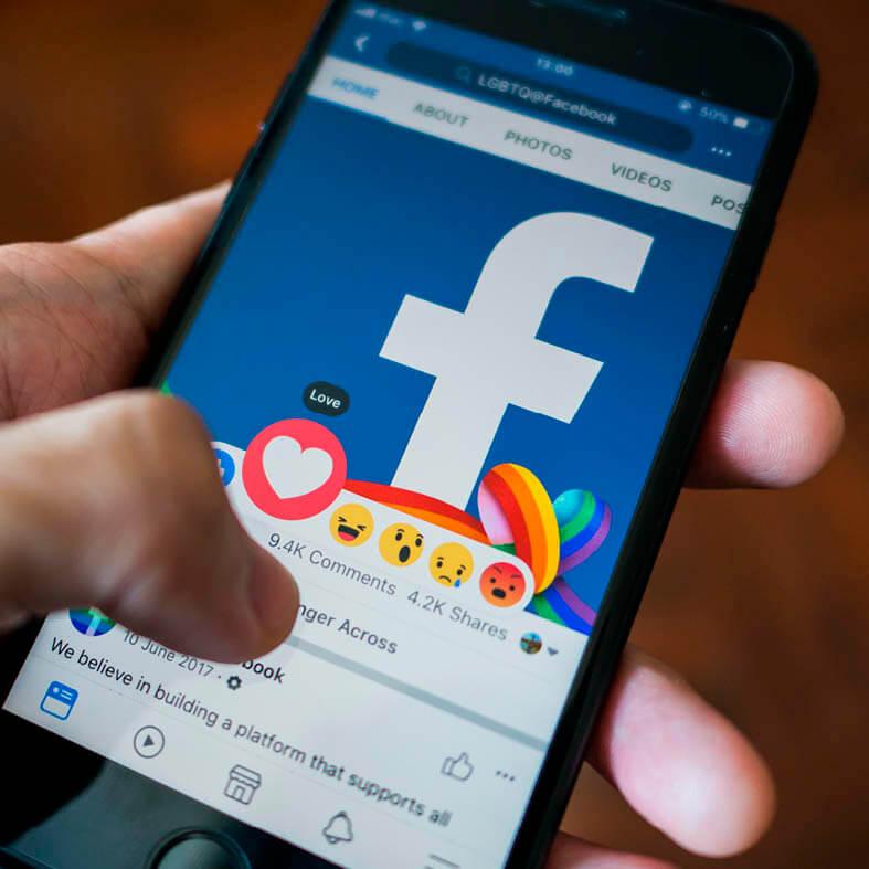 Blick auf die Facebook-App