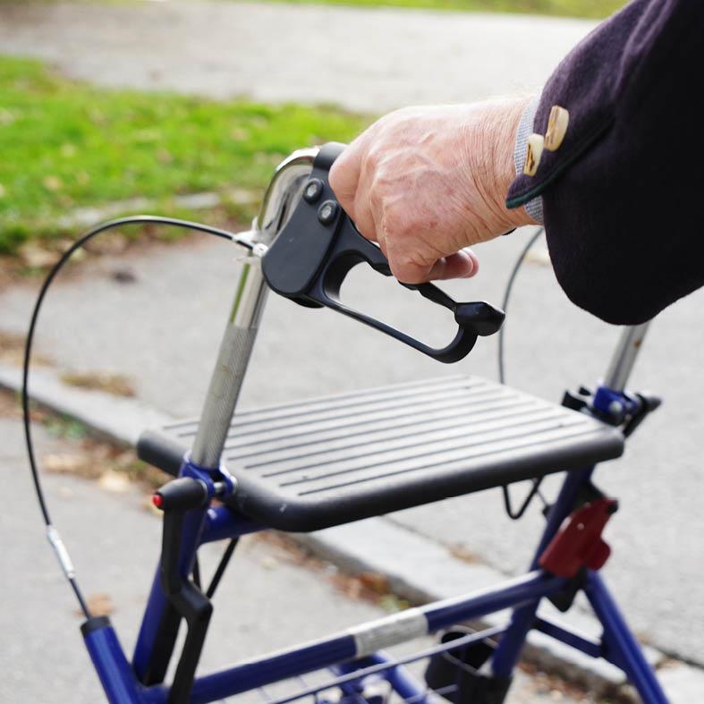 Senior geht mit Rollator duch Park